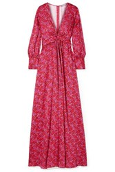 Lela Rose Gathered Floral Print Satin Maxi Dress Pink