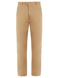 Raey Flat Front Cotton Skinny Chino Trousers Tan