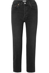 Re Done Stovepipe Cropped High Rise Straight Leg Jeans Black