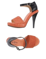 Rebeca Sanver Platform Sandals Rust