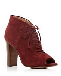 Splendid Janessa Open Toe Lace Up High Heel Booties Bloomingdale's Exclusive Dark Cranberry