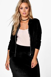 Boohoo Jordyn Velour Zip Through Jacket Black