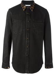 Givenchy Studded Collar Denim Shirt Black