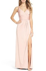 Xscape Evenings Women's Cross Back Side Pleat Satin Gown