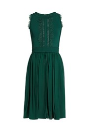 Elie Saab Lace Insert Sleeveless Dress Green