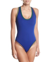Lablanca Threading Scoop Neck Cross Back One Piece Swimsuit Blue