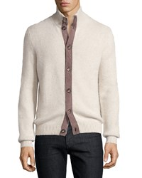 Luciano Barbera Cashmere Contrast Trim Cardigan Ivory Brown