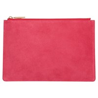 Whistles Suede Small Clutch Bag Pink