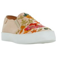 Dune Evanni Embroidered Slip On Trainers Pink