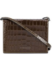 Victoria Beckham Crocodile Effect Shoulder Bag Brown