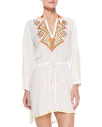 Shoshanna Embroidered Voile Drawstring Tunic Women's