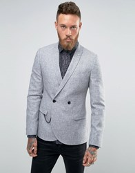 Noose And Monkey Super Skinny Db Blazer With Chain In Fleck Light Grey