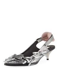 N 21 Volcano Multi Bow Metallic Leather Slingback Pumps Silver