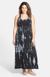 Plus Size Women's Hard Tail Surplice Side Tie Racerback Maxi Dress Black Blue Tie Dye