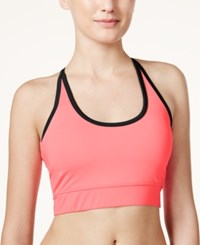 Jessica Simpson The Warm Up Juniors' Strappy Back Sports Bra Perfectly Pink