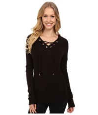 Calvin Klein Lace Up V Neck Sweater Black Women's Sweater