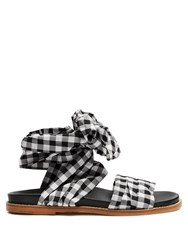 Marques Almeida Wraparound Gingham Sandals Black White