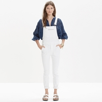 Madewell White Denim Side Zip Overalls