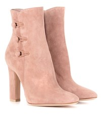 Gianvito Rossi Savoie Suede Ankle Boots Pink
