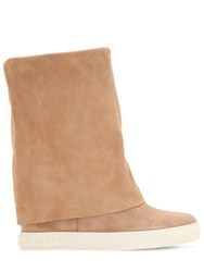 Casadei 80Mm Suede Wedge Sneakers Camel