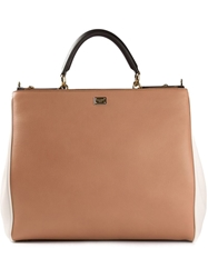 Dolce And Gabbana Large 'Sicily' Colour Block Shopping Tote Brown