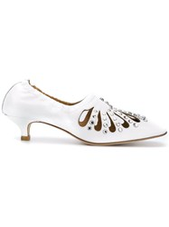 Toga Pulla Embellished Low Heel Pumps White