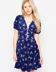 Trollied Dolly Tea Dress In Peacock Print Navy