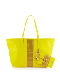 Cynthia Rowley Hayden Striped Leather Tote Bag Yellow Gold