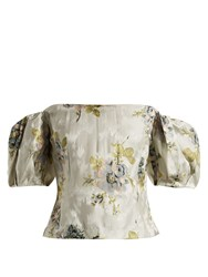 Brock Collection Boie Itoh Peony Print Silk Jacquard Corset Top Blue Print