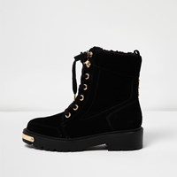River Island Womens Black Suede Chunky Lace Up Boots