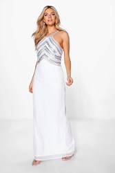 Boohoo Boutique Ray Beaded Top Low Back Maxi Dress White