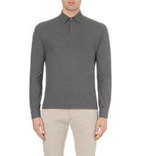 Slowear Ice Long Sleeved Cotton Polo Shirt Grey