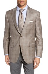 Peter Millar Men's Big And Tall Classic Fit Plaid Wool Sport Coat Beige