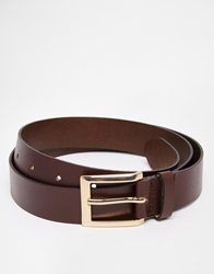Asos Smart Belt In Brown Leather
