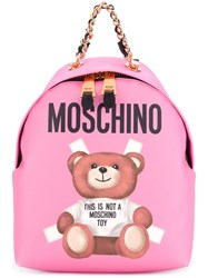 Moschino Toy Paper Bear Print Backpack Pink Purple