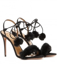 Aquazzura Fancy Nansy Fur Sandals Black