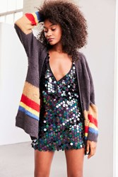 Ecote Gigi Cozy Brushed Colorblock Cardigan Grey Multi