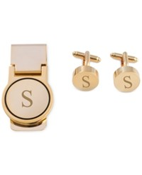 Bey Berk Men's Gold Tone Monogrammed Cuff Links And Money Clip Set