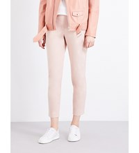 Theory Thaniel Tapered High Rise Cotton Blend Trousers Peach Rose