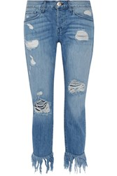 3X1 Wm3 Crop Fringe Distressed Mid Rise Straight Leg Jeans Mid Denim