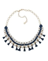 Ivanka Trump Faux Pearl Drama Frontal Necklace Blue
