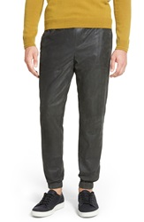 Vince Leather Jogger Pants Pewter