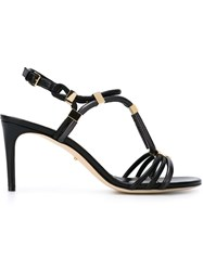 Sergio Rossi Metal Appliqua Strappy Sandals Black
