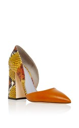 Pollini Python Print Leather Pump Brown