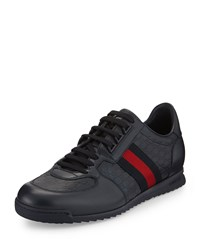 Gucci Lace Up Sneaker With Web Detail Size 9G 10Us Navy