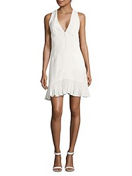 Nicole Miller Artelier Solid V Neck Dress White
