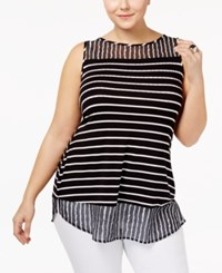 Belldini Plus Size Striped Chiffon Hem Tank Top Black White