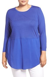 Vince Camuto Plus Size Women's Two By Mixed Media Three Quarter Sleeve Top Optic Blue