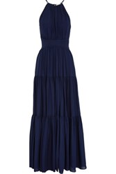 L'agence Penelope Tiered Silk Gown Navy