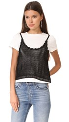 English Factory Crochet Cami Tee White Black